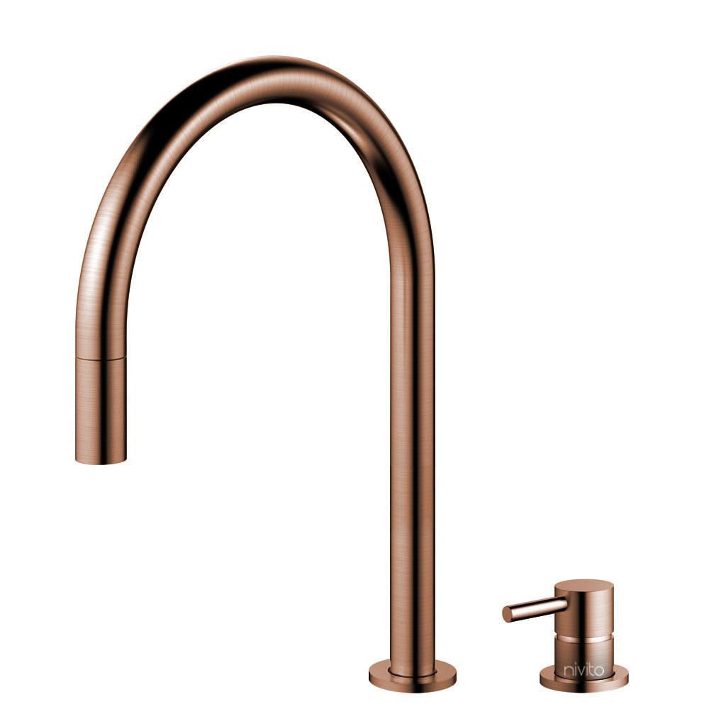 Koppar Vattenblandare Utdragbart munstycke / Sepererad Kropp/Pip - Nivito RH-150-VI