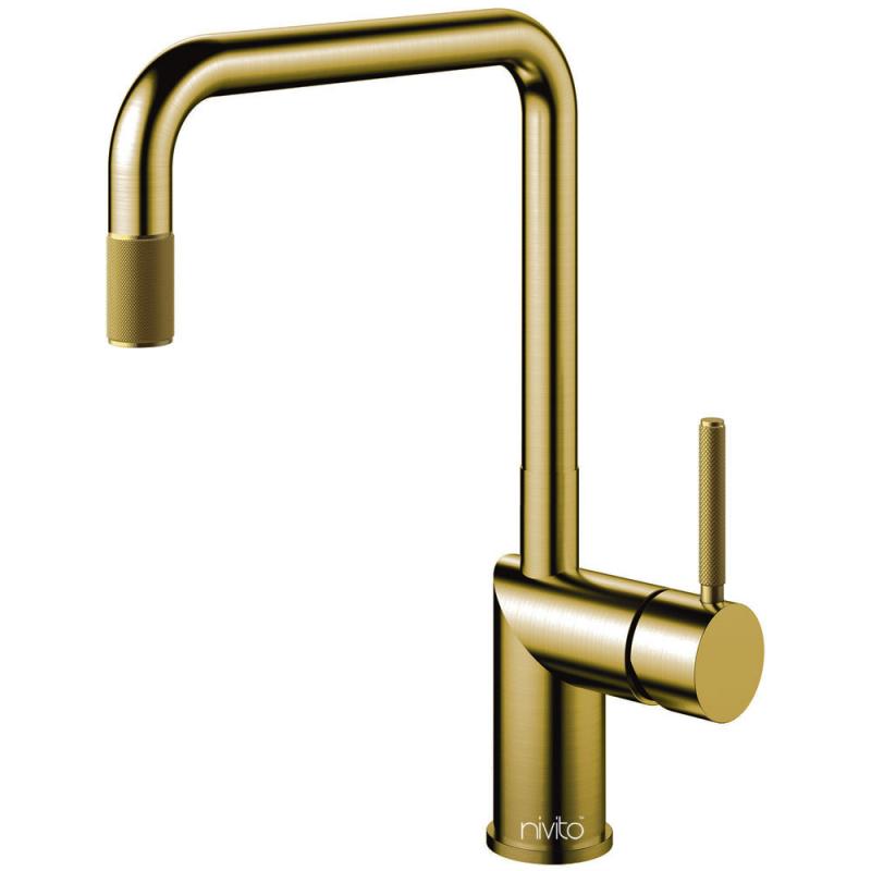Mässing/Guld Köksblandare Utdragbart munstycke - Nivito RH-340-EX-IN